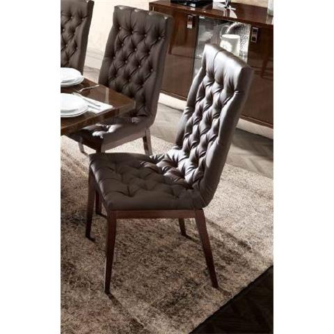 Camel Roma Day Capitonne Walnut Ecoleather Time Upholstered Italian Dining Chair