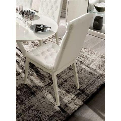 Camel Roma Day White Eco Leather Time Upholstered Italian Capitonne Dining Chair
