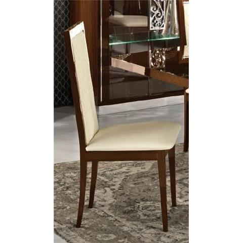 Camel Roma Day Rombi Walnut Ecoleather Upholstered Italian Dining Chair with Padded Back