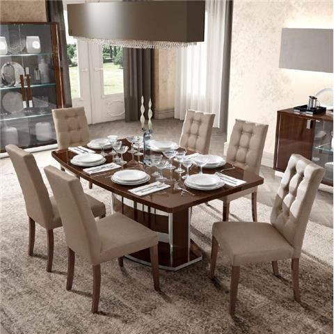 Camel Roma Day Walnut Italian Butterfly Extending Dining Table and 6 Dama Ecoleather Chairs