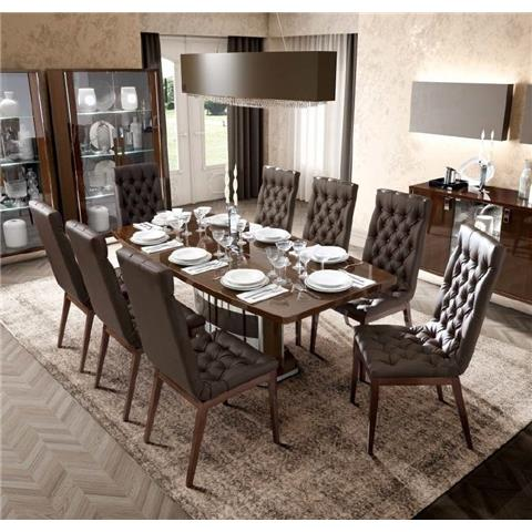 Camel Roma Day Walnut Italian Butterfly Extending Dining Table and 6 Capitonne Ecoleather Chairs