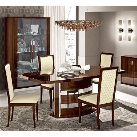Camel Roma Day Walnut Italian Butterfly Extending Dining Table and 6 Rombi Ecoleather Chairs