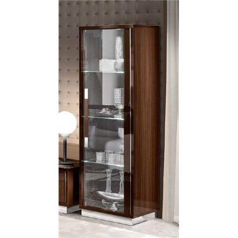 Camel Roma Day Walnut Slim Italian Left Hand Facing Glass Cabinet