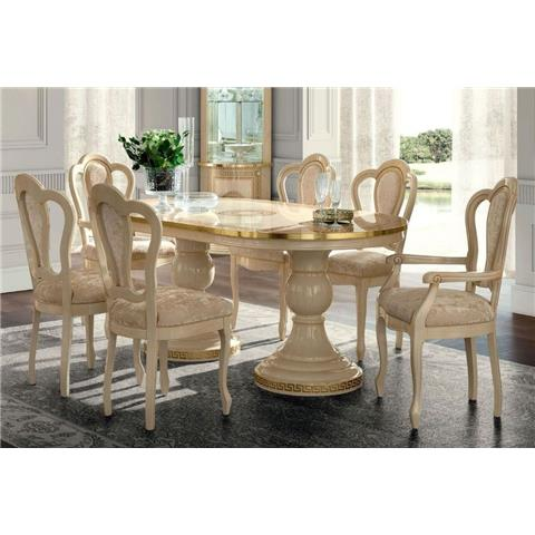 Camel Aida Day Ivory Italian Oval Extending Dining Table with 4 Michelangelo Chairs and 2 Armchair Dimensions	:	Dining Table