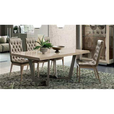 Camel Elite Day Sand Birch Italian Net Extending Dining Table and Capitonne Dining Chairs