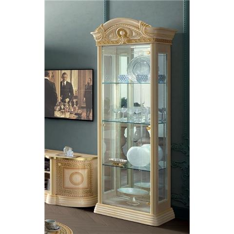 Camel Aida Day Ivory Italian 1 Door China Cabinet with LED Light