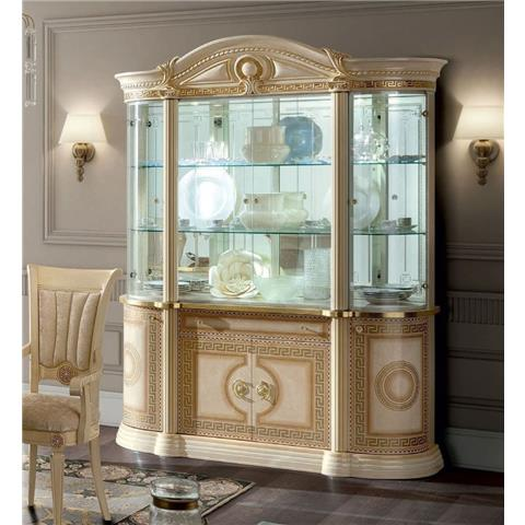 Camel Aida Day Ivory Italian 4 Door China Cabinet with LED Light