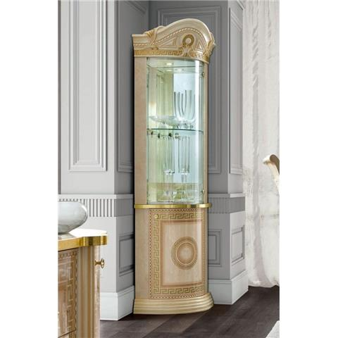 Camel Aida Day Ivory Italian Corner Cabinet with LED Light