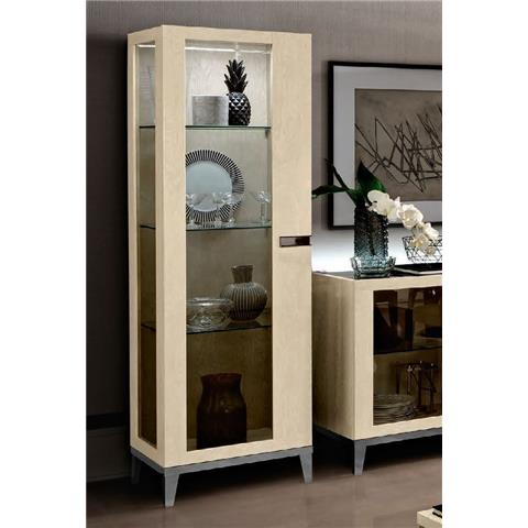 Camel Ambra Ivory Italian 1 Left Door Vitrine with Glass Side