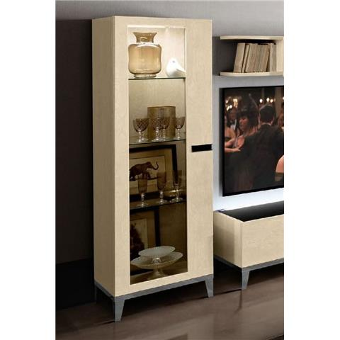 Camel Ambra Ivory Italian 1 Left Door Vitrine with Wooden Side