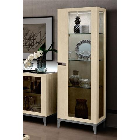 Camel Ambra Ivory Italian 1 Right Door Vitrine with Glass Side