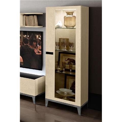 Camel Ambra Ivory Italian 1 Right Door Vitrine with Wooden Side