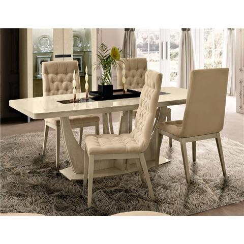 Camel Ambra Ivory Italian Small Extending Dining Table and 4 Cream Capitonne Chairs
