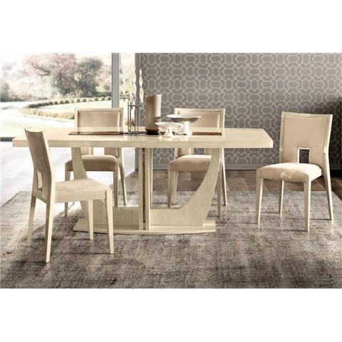 Camel Ambra Ivory Italian Medium Extending Dining Table