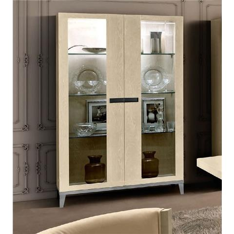 Camel Ambra Ivory Italian 2 Door Vitrine with Wooden Side