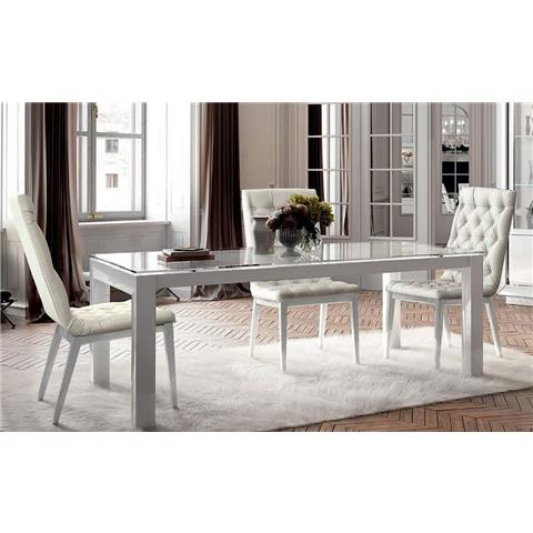 Camel Dama White Italian Extending Dining Table and 4 Chairs