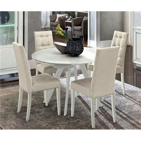 Camel Dama White Italian Round Extending Dining Table