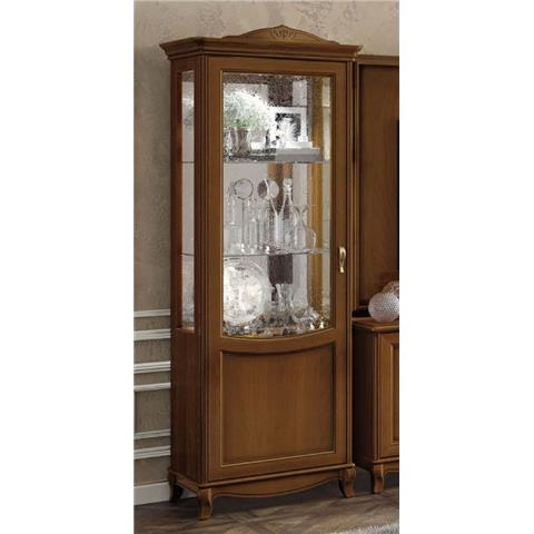 Camel Fantasia Day Walnut Italian 1 Left Door Vitrine with 1 LED Light