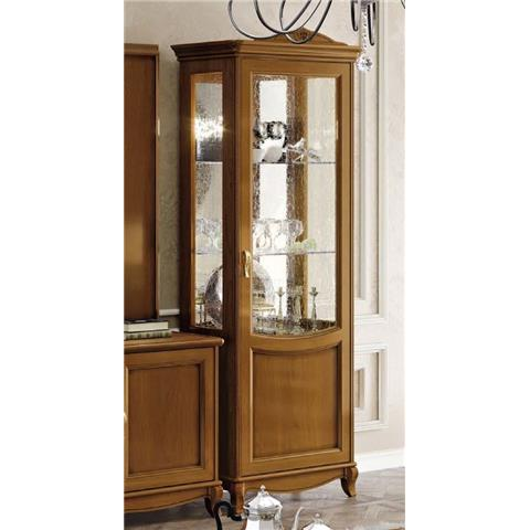 Camel Fantasia Day Walnut Italian 1 Right Door Vitrine with 1 LED Light
