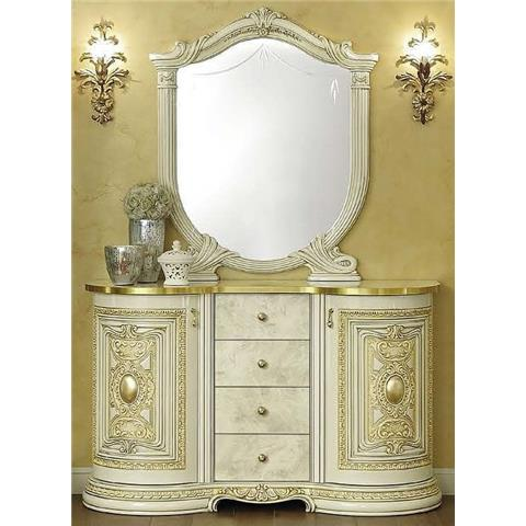 Camel Leonardo Italian Buffet Sideboard with Small Mirror