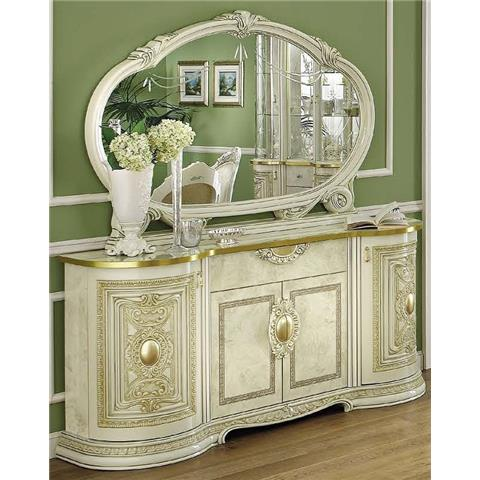 Camel Leonardo Italian Large Buffet Sideboard with Large Mirror