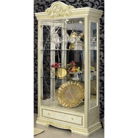 Camel Leonardo Italian China Cabinet with 1 Gold Light