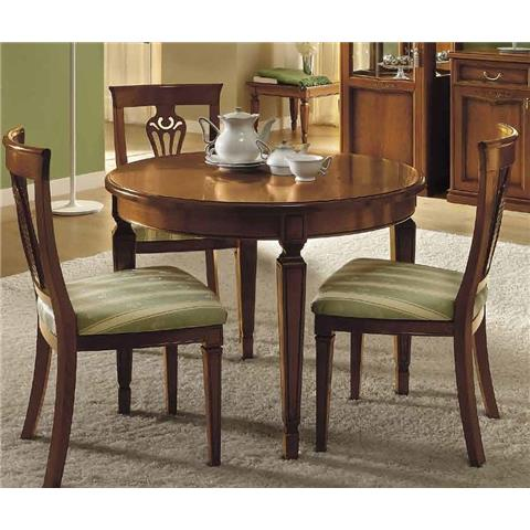 Camel Nostalgia Day Walnut Italian Round Extending Dining Table and 4 Chairs