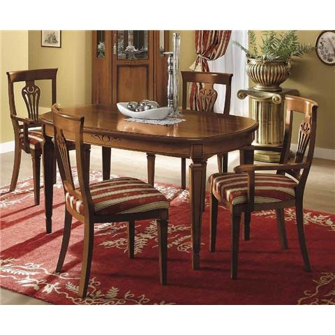 Camel Nostalgia Day Walnut Italian Oval Extending Dining Table with 2 Chairs and 2 Armchair
