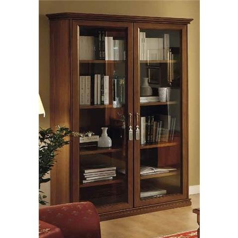Camel Nostalgia Day Walnut Italian 2 Glass Door Bookcase