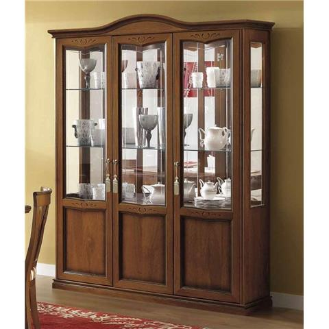 Camel Nostalgia Day Walnut Italian Curved Vitrine with 3 LED Light