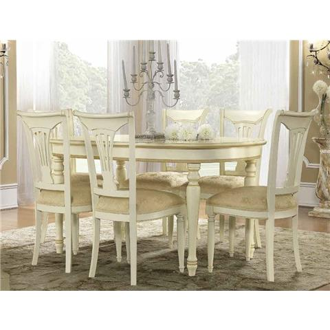 Camel Siena Day Ivory Italian Oval Extending Dining Table and 6 Chairs