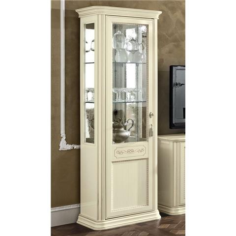 Torriani Day Ivory Italian 1 Left Glass Door Vitrine with LED Light