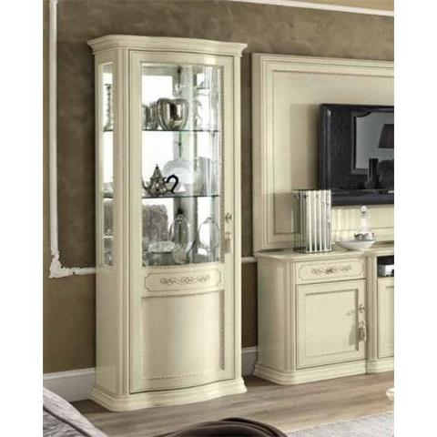 Torriani Day Ivory Italian 1 Left Curved Glass Door Vitrine with LED Light
