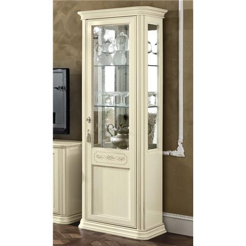 Torriani Day Ivory Italian 1 Right Glass Door Vitrine with LED Light