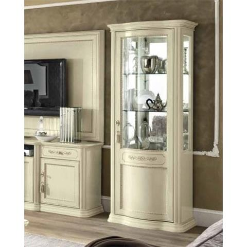 Torriani Day Ivory Italian 1 Right Curved Glass Door Vitrine with LED Light
