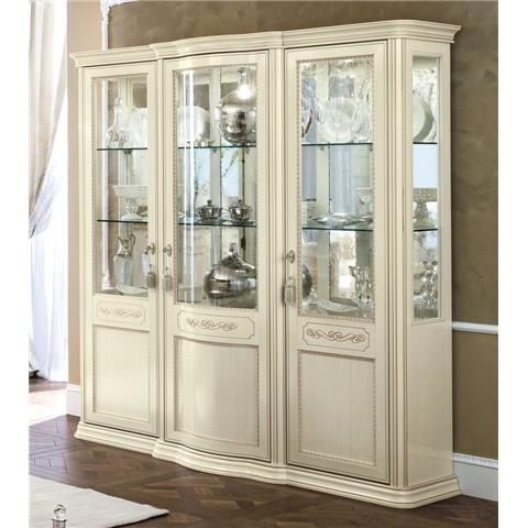 Torriani Day Ivory Italian 3 Glass Door Vitrine with 3 LED Light - W 191cm