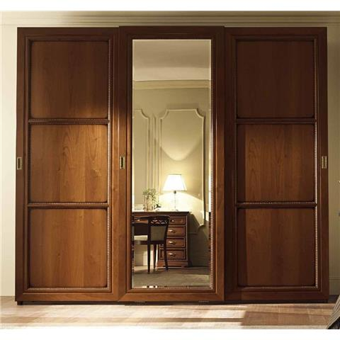 Camel Torriani Night Walnut Italian Terna Door Sliding Wardrobe