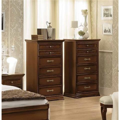 Camel Torriani Night Walnut Italian 6 Drawer Chest