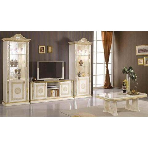 Venus Cream & Gold 1 Door Display Cabinet
