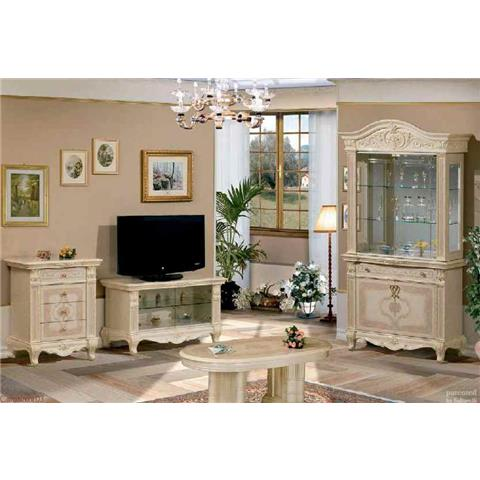 Versailles Italian Cream 2 Door Glass Wall Unit