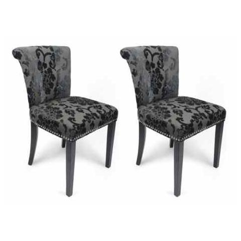 Shankar Charcoal Baroque Velvet Ring Back Accent Dining Chair (Pair)