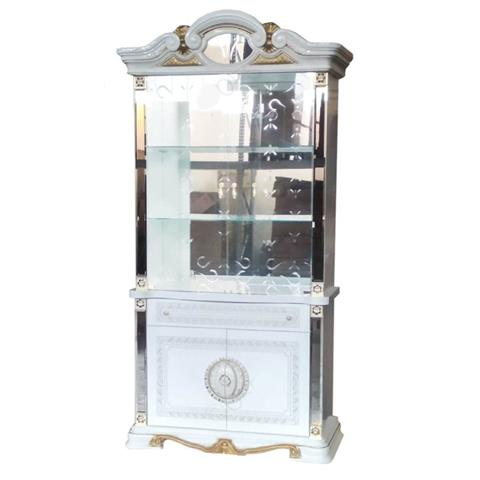 Ben Company Betty White and Gold Finish Italian 2 Door Display Cabinet