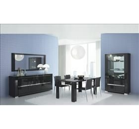 Armonia Diamond Black Highgloss Dining table and 6 chairs