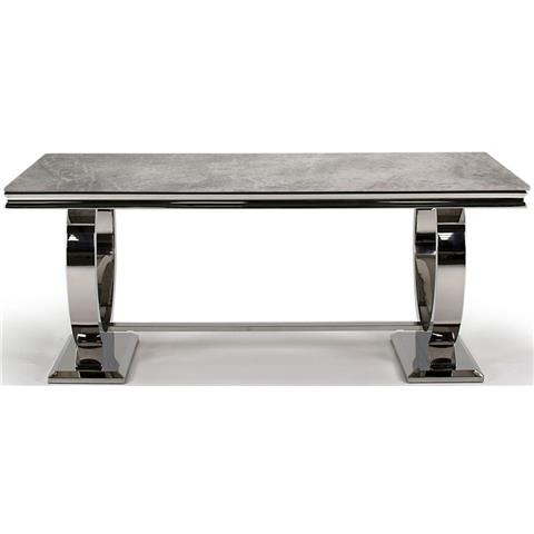 Arianna 200cm Grey Marble and Stainless Steel Chrome Dining Table