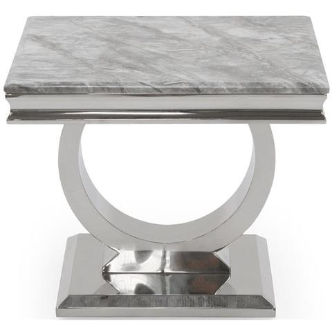 Arianna Grey Marble and Stainless Steel Chrome Lamp Table