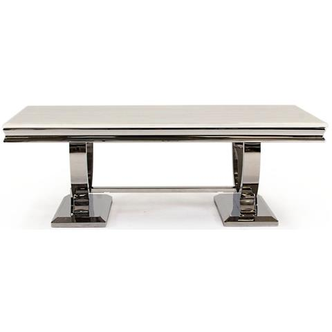 Arianna Cream Marble and Stainless Steel Chrome Coffee Table
