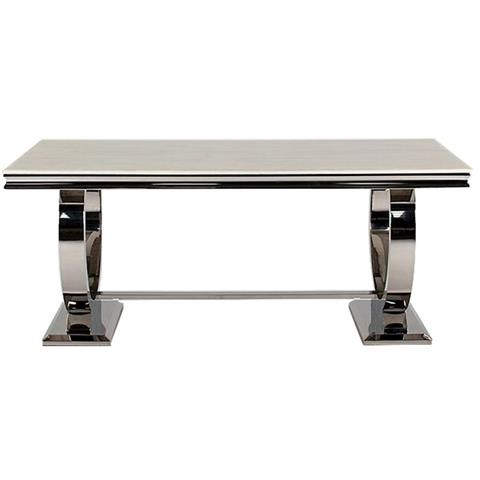 Arianna 180cm Cream Marble and Stainless Steel Chrome Dining Table