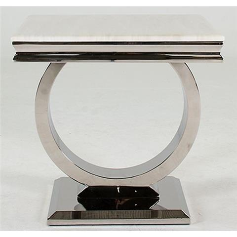 Arianna Cream Marble and Stainless Steel Chrome Lamp Table