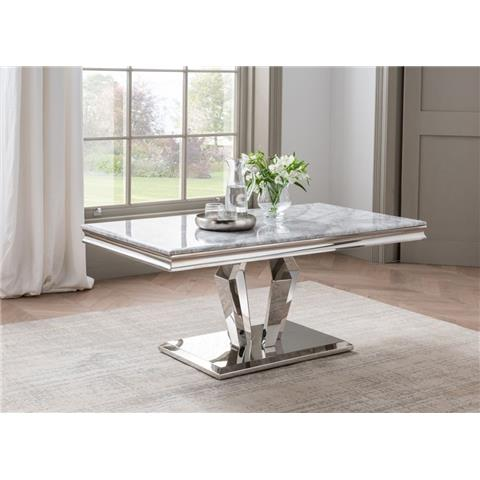 Arturo Grey Marble and Stainless Steel Chrome Coffee Table
