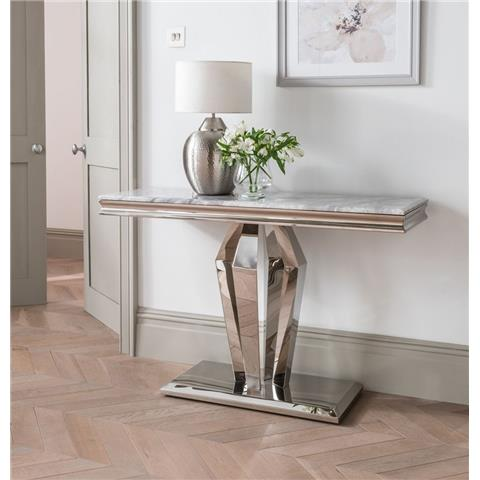 Arturo Grey Marble and Stainless Steel Chrome Console Table